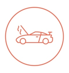 Broken car with open hood line icon vector