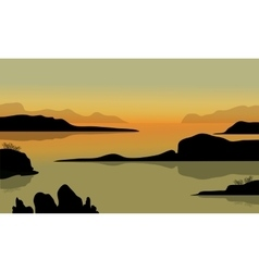Rock in beach scenery vector
