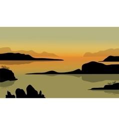 Rock in beach scenery vector image