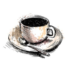 Colored hand drawing coffee cup vector
