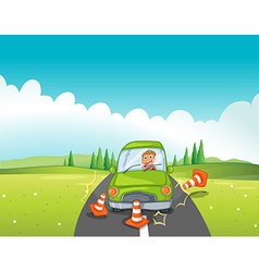 A boy in a green car bumping the traffic cones vector