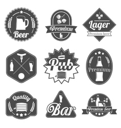 Alcohol beer labels badges collection vector