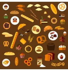 Bakery pastry and confectionery flat icons vector image vector image