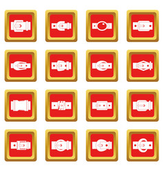 Belt buckles icons set red vector