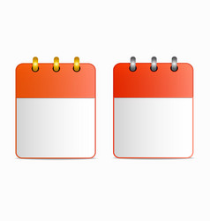 blank sheet of calendar icon with silver and gold vector image