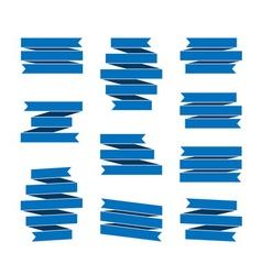 Blue ribbon banners set vector