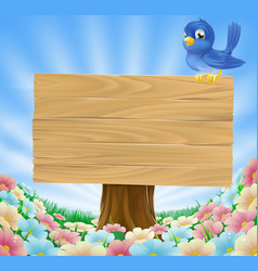 Bluebird sitting on wood sign with flowers vector