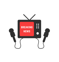 breaking news with black tv and microphone vector image
