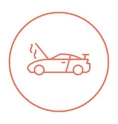 Broken car with open hood line icon vector