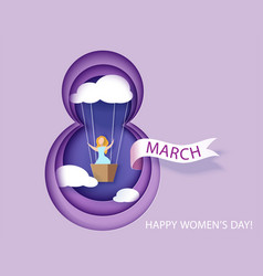 Card for 8 march womens day woman in basket vector