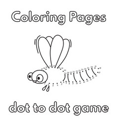 Cartoon dragonfly coloring book vector