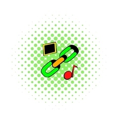 Chain link icon comics style vector image