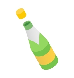 Champagne bottle isometric 3d icon vector