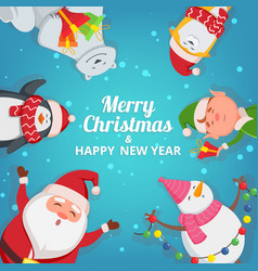 christmas background with funny characters design vector image