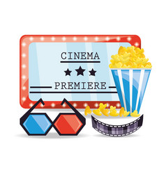Cinema ticket with popcorn and 3d glasses vector