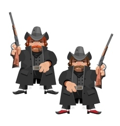 Cowboy leader with rifle cartoon character vector