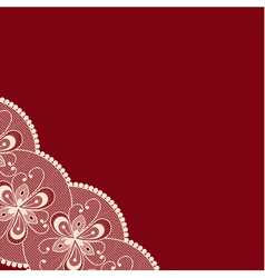 Dark red background with lacy corner vector