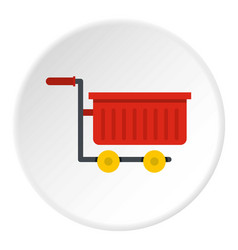 Empty red plastic shopping trolley icon circle vector