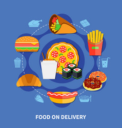 Fast food delivery service flat poster vector