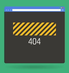 Flat browser window with 404 page vector