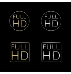 Full HD labels vector image vector image