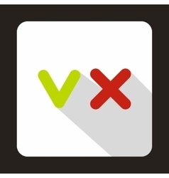 Green tick and red cross icon flat style vector image vector image