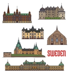 Historic buildings and architecture of Sweden vector image