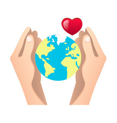 human hands holding globe vector image vector image