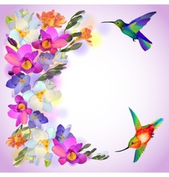 Lilac card with freesia flowers and humming birds vector image