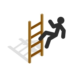 Man climbs the stairs icon isometric 3d style vector image vector image