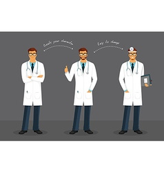 Man doctor in various poses vector image vector image