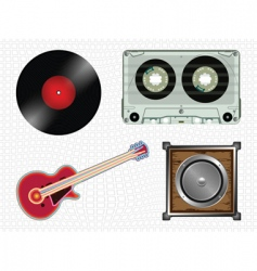 music icons collection vector image vector image