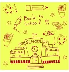 On yellow backgrounds school doodles vector