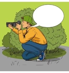 Paparazzi photographer pop art style vector