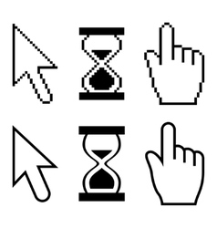 Pixel cursors icons Hand cursor mouse pointer vector image vector image