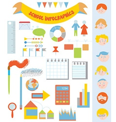 School infographic set with icons faces frames vector image