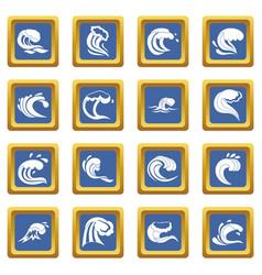 sea waves icons set blue vector image