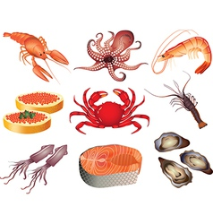 Seafood set vector