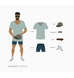 set menswear summer style vector image