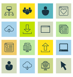 set of 16 internet icons includes human local vector image