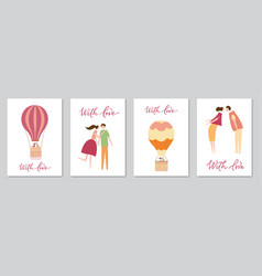 Set of cards with hot air balloon vector