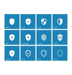 Shield icons on blue background vector image