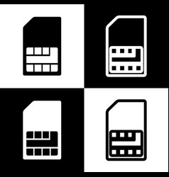 Sim card sign black and white icons and vector