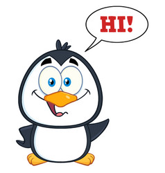 smiling cute penguin cartoon character vector image vector image