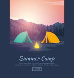 Summer camp evening camp pine forest and rocky vector