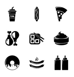 Unhealthy food icons set simple style vector
