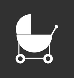 White icon on black background baby carriage vector