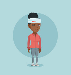 Young african-american woman with injured head vector