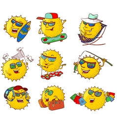 Sun characters in summer activity vector