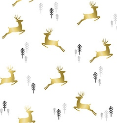 Gold christmas deer with tree pattern background vector image